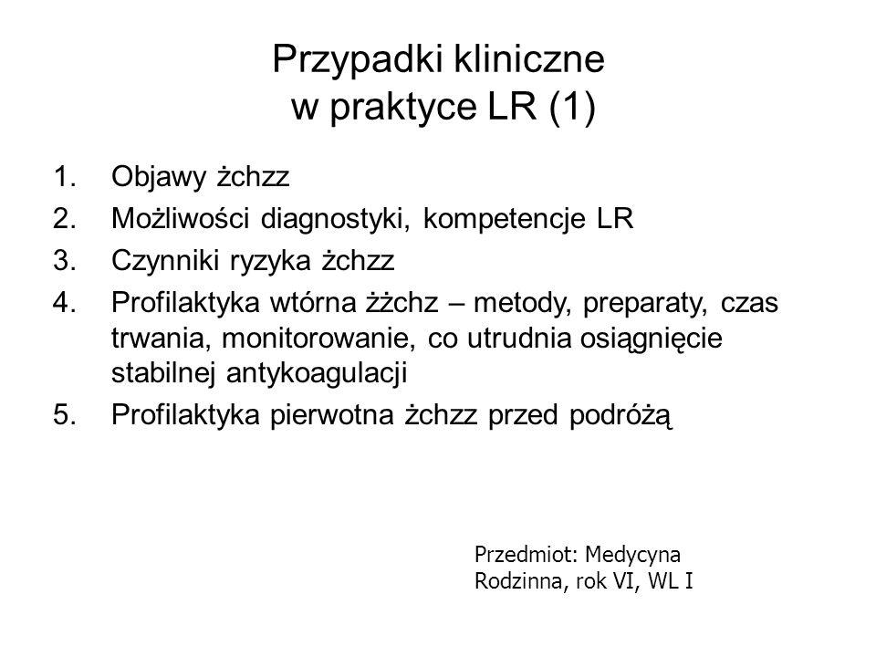 Przypadki kliniczne w praktyce LR (1) 1.Objawy żchzz 2.Możliwości diagnostyki, kompetencje LR 3.Czynniki ryzyka żchzz 4.Profilaktyka wtórna żżchz – me