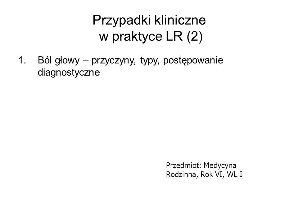 Przypadki kliniczne w praktyce LR (3) 1.Screening w kierunku cukrzycy 2.Diagnostyka hiperglikemii/cukrzycy 3.Strategia terapeutyczna 4.Główne grupy doustnych leków hipoglikemizujących – wybór, działania niepożądane 5.Ryzyko sercowo-naczyniowe u chorych z cukrzycą 6.Kontrola glikemii/ powikłań cukrzycy a kompetencje lekarza rodzinnego Przedmiot: Medycyna Rodzinna, Rok VI, WL I