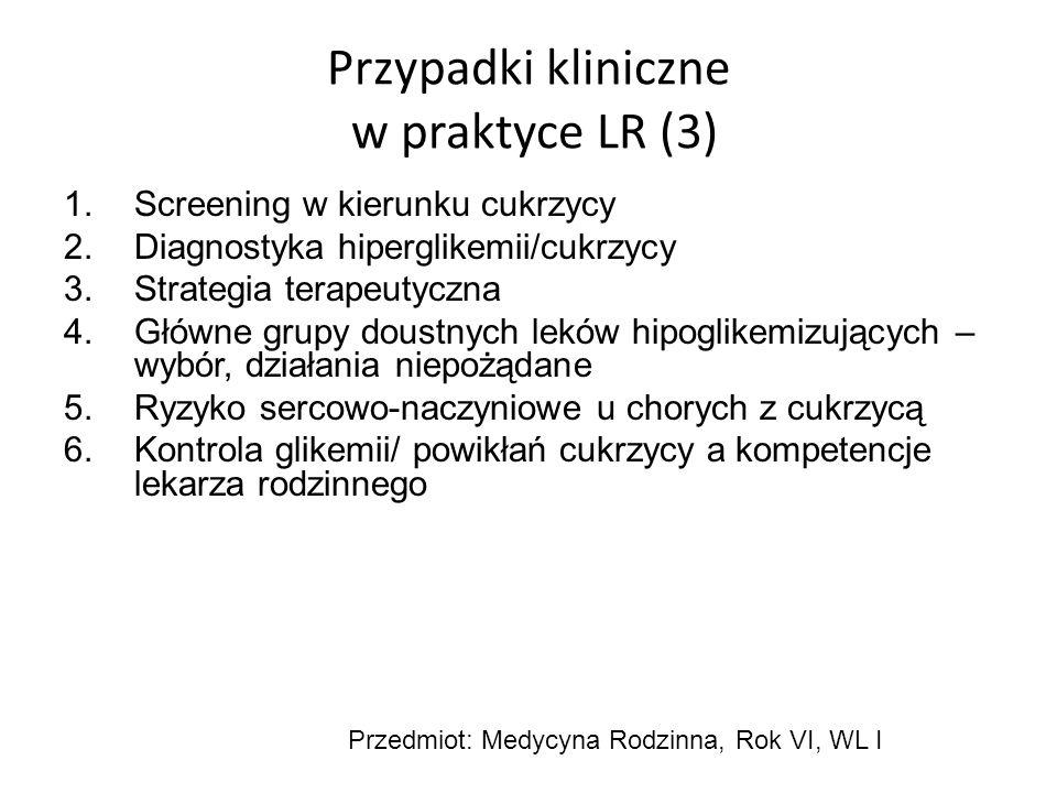 Przypadki kliniczne w praktyce LR (3) 1.Screening w kierunku cukrzycy 2.Diagnostyka hiperglikemii/cukrzycy 3.Strategia terapeutyczna 4.Główne grupy do