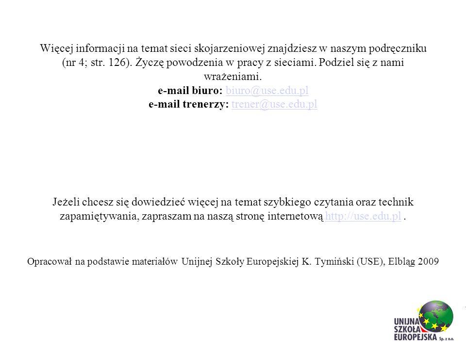 Więcej informacji na temat sieci skojarzeniowej znajdziesz w naszym podręczniku (nr 4; str. 126). Życzę powodzenia w pracy z sieciami. Podziel się z n