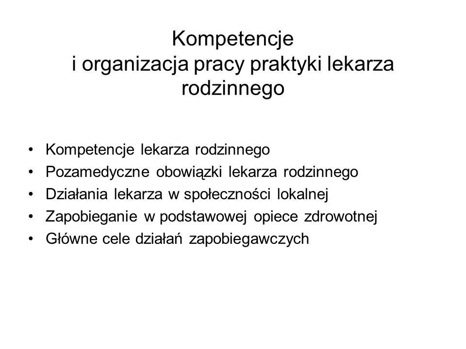 Kompetencje i organizacja pracy praktyki lekarza rodzinnego Kompetencje lekarza rodzinnego Pozamedyczne obowiązki lekarza rodzinnego Działania lekarza