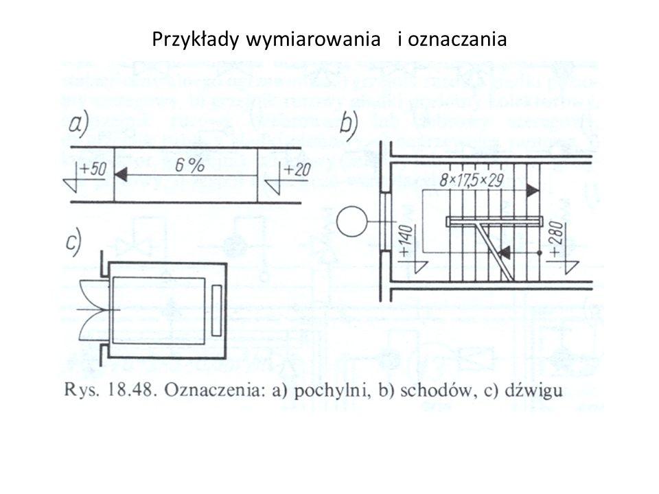 a)Przekrój ściany istniejącej, b)Przekrój ściany do wyburzenia, c)Przekrój ściany projektowanej, d)Fundament w przekroju poziomym i pionowym, e)Fundament w przekroju poziomym i pionowym, f)Dylatacja przekrój poziomy, g)Dylatacja przekrój pionowy, h)Wejście powyżej poziomu zerowego budynku, j)Wejście powyżej poziomu zerowego budynku, k)Wejście poniżej poziomu zerowego budynku, l)Wejście poniżej poziomu zerowego budynku, m)Symbole wysokości –rzędnych ; w budynku w stanie surowym i wykończonym.
