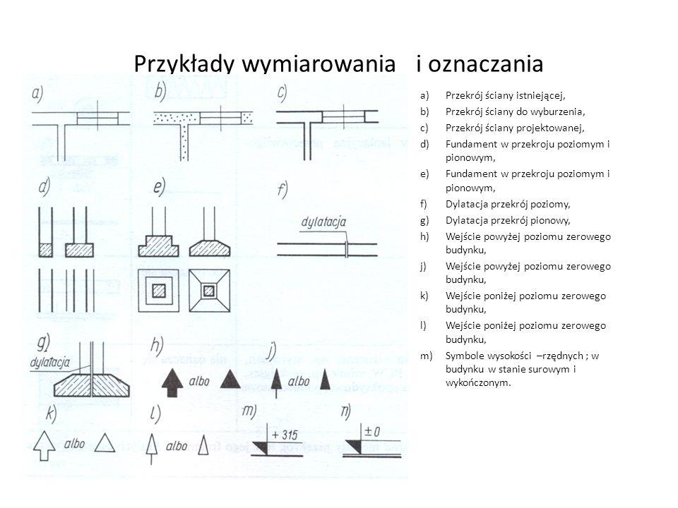 a)Przekrój ściany istniejącej, b)Przekrój ściany do wyburzenia, c)Przekrój ściany projektowanej, d)Fundament w przekroju poziomym i pionowym, e)Fundam