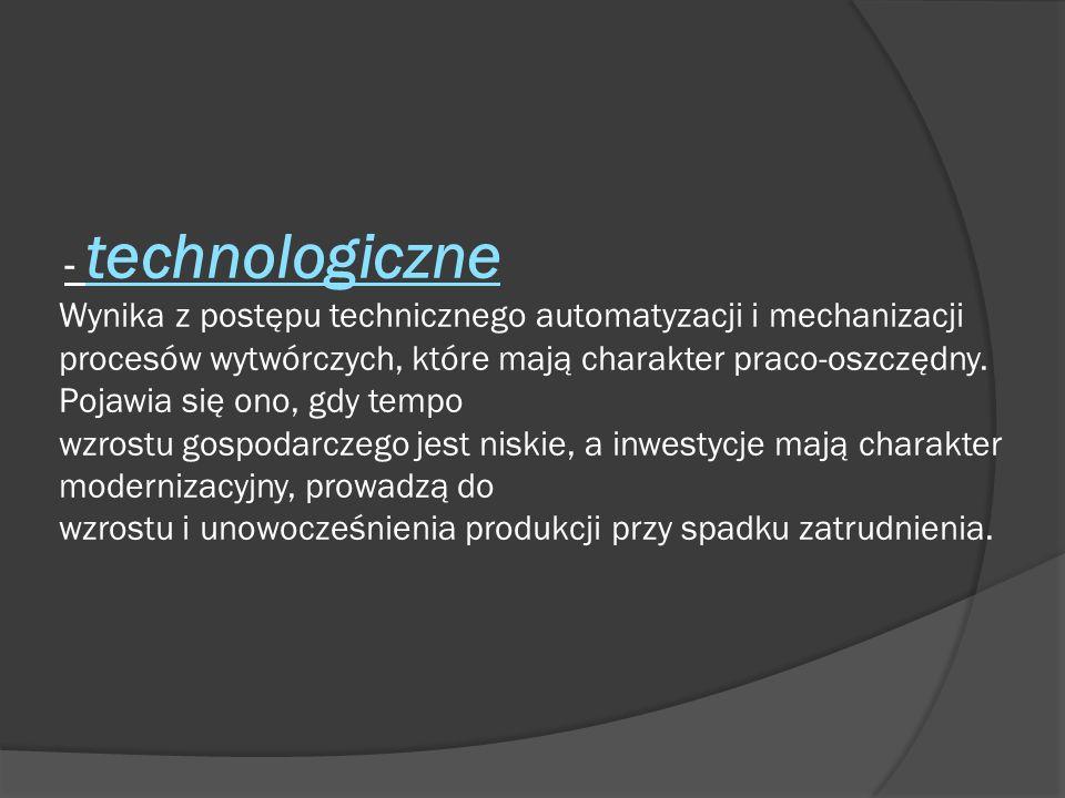 - technologiczne Wynika z postępu technicznego automatyzacji i mechanizacji procesów wytwórczych, które mają charakter praco-oszczędny. Pojawia się on