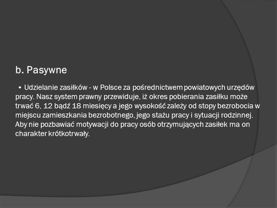 b. Pasywne Udzielanie zasiłków - w Polsce za pośrednictwem powiatowych urzędów pracy. Nasz system prawny przewiduje, iż okres pobierania zasiłku może