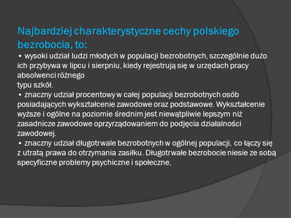 Najbardziej charakterystyczne cechy polskiego bezrobocia, to: wysoki udział ludzi młodych w populacji bezrobotnych, szczególnie dużo ich przybywa w li