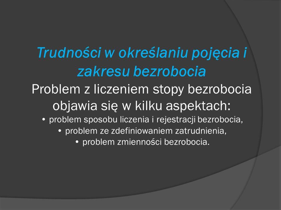 Trudności w określaniu pojęcia i zakresu bezrobocia Problem z liczeniem stopy bezrobocia objawia się w kilku aspektach: problem sposobu liczenia i rej