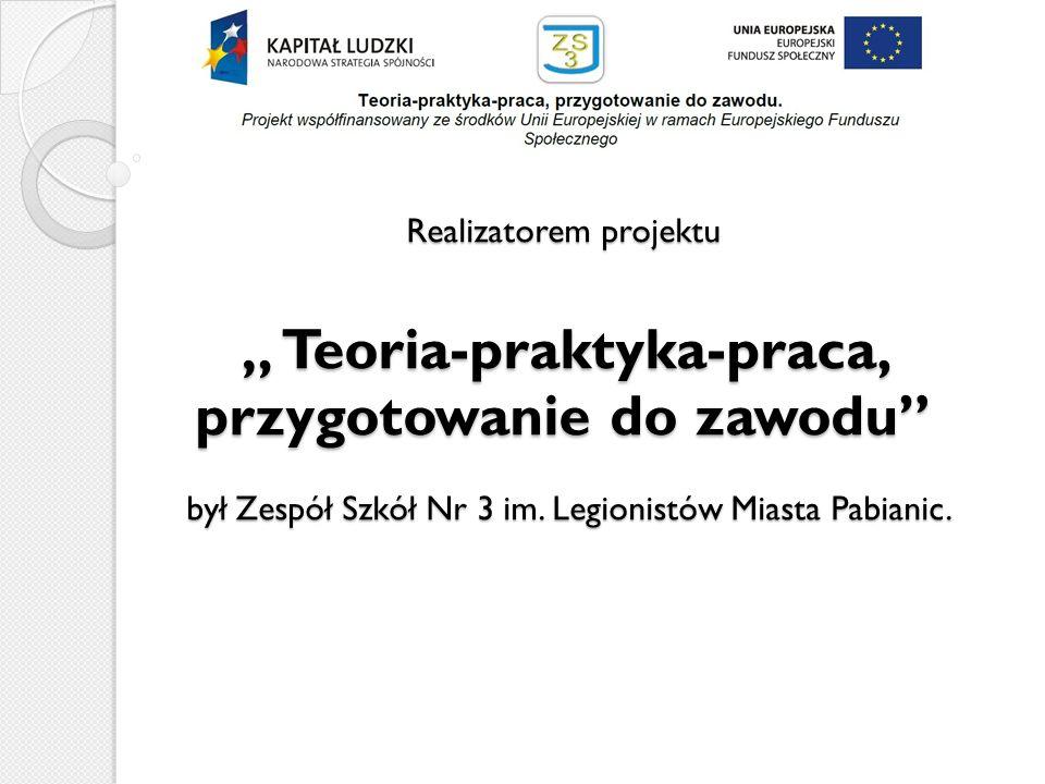 Realizatorem projektu Teoria-praktyka-praca, przygotowanie do zawodu był Zespół Szkół Nr 3 im. Legionistów Miasta Pabianic.