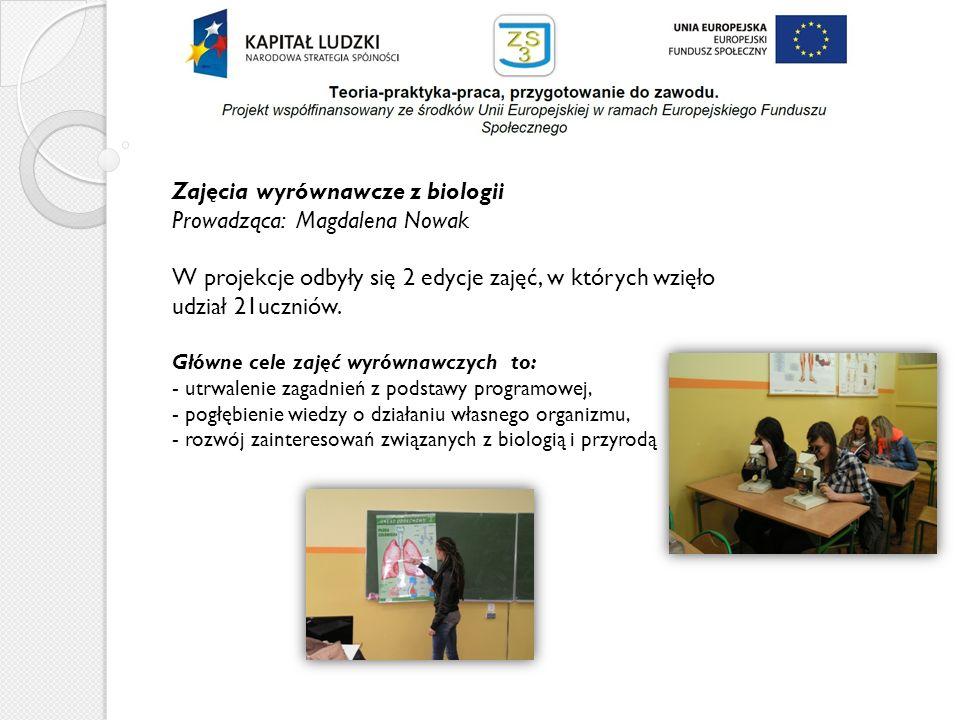 Zajęcia wyrównawcze z biologii Prowadząca: Magdalena Nowak W projekcje odbyły się 2 edycje zajęć, w których wzięło udział 21uczniów. Główne cele zajęć