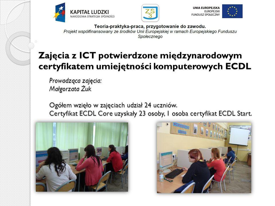 Zajęcia z ICT potwierdzone międzynarodowym certyfikatem umiejętności komputerowych ECDL Prowadząca zajęcia: Małgorzata Żuk Ogółem wzięło w zajęciach u