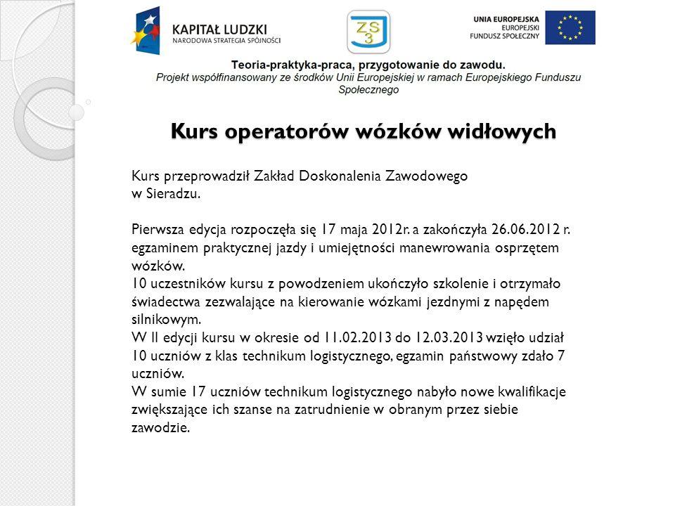 Kurs operatorów wózków widłowych Kurs przeprowadził Zakład Doskonalenia Zawodowego w Sieradzu. Pierwsza edycja rozpoczęła się 17 maja 2012r. a zakończ