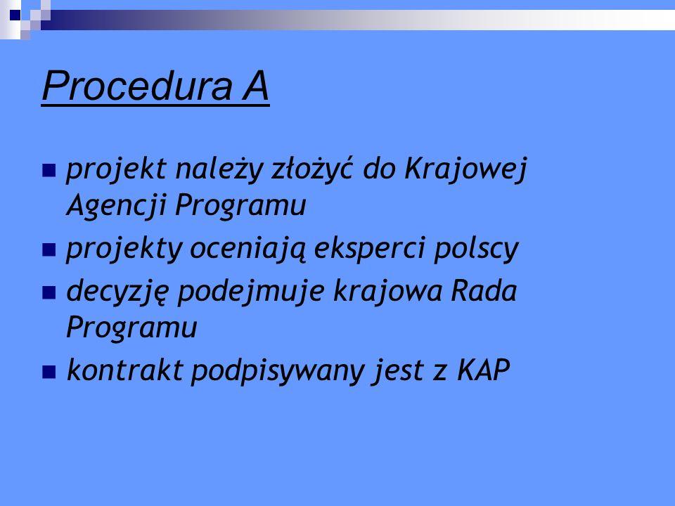 Procedura A projekt należy złożyć do Krajowej Agencji Programu projekty oceniają eksperci polscy decyzję podejmuje krajowa Rada Programu kontrakt podp