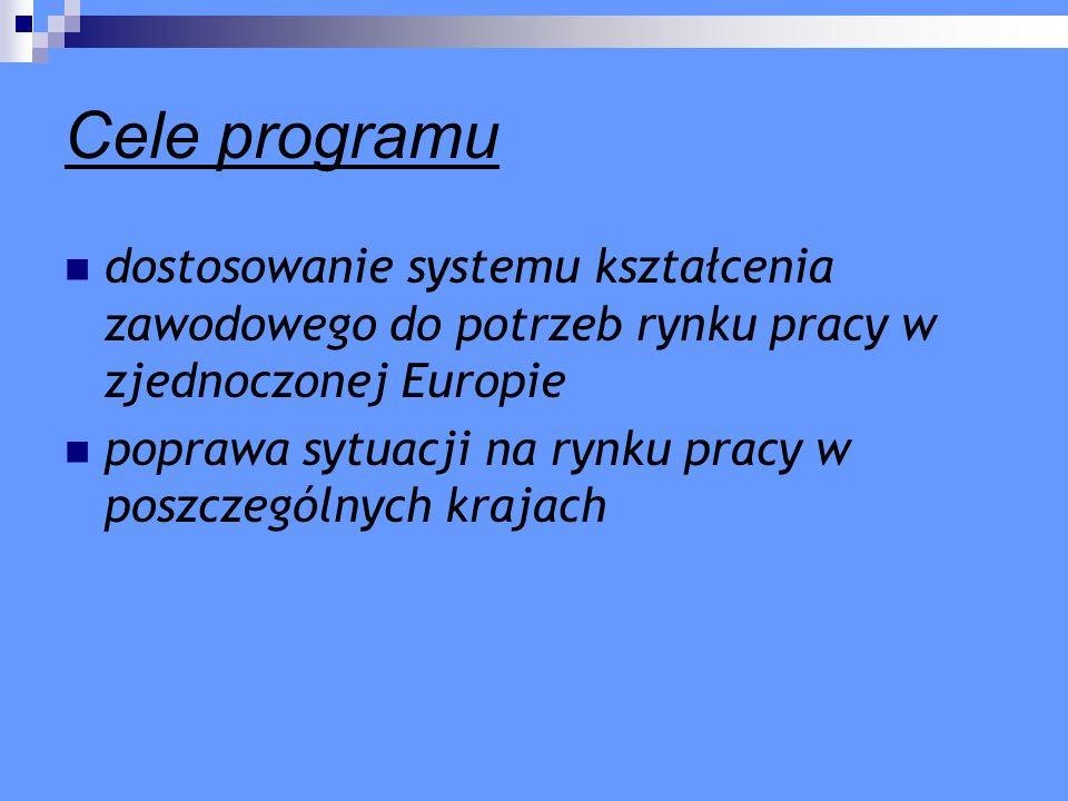 Cele programu dostosowanie systemu kształcenia zawodowego do potrzeb rynku pracy w zjednoczonej Europie poprawa sytuacji na rynku pracy w poszczególny