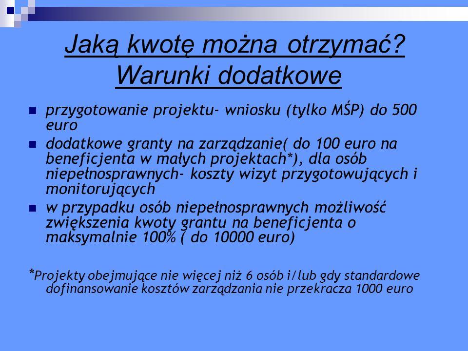 Jaką kwotę można otrzymać? Warunki dodatkowe przygotowanie projektu- wniosku (tylko MŚP) do 500 euro dodatkowe granty na zarządzanie( do 100 euro na b