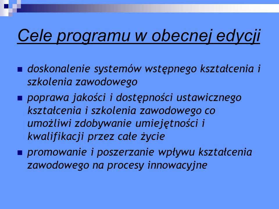 Cele programu w obecnej edycji doskonalenie systemów wstępnego kształcenia i szkolenia zawodowego poprawa jakości i dostępności ustawicznego kształcen