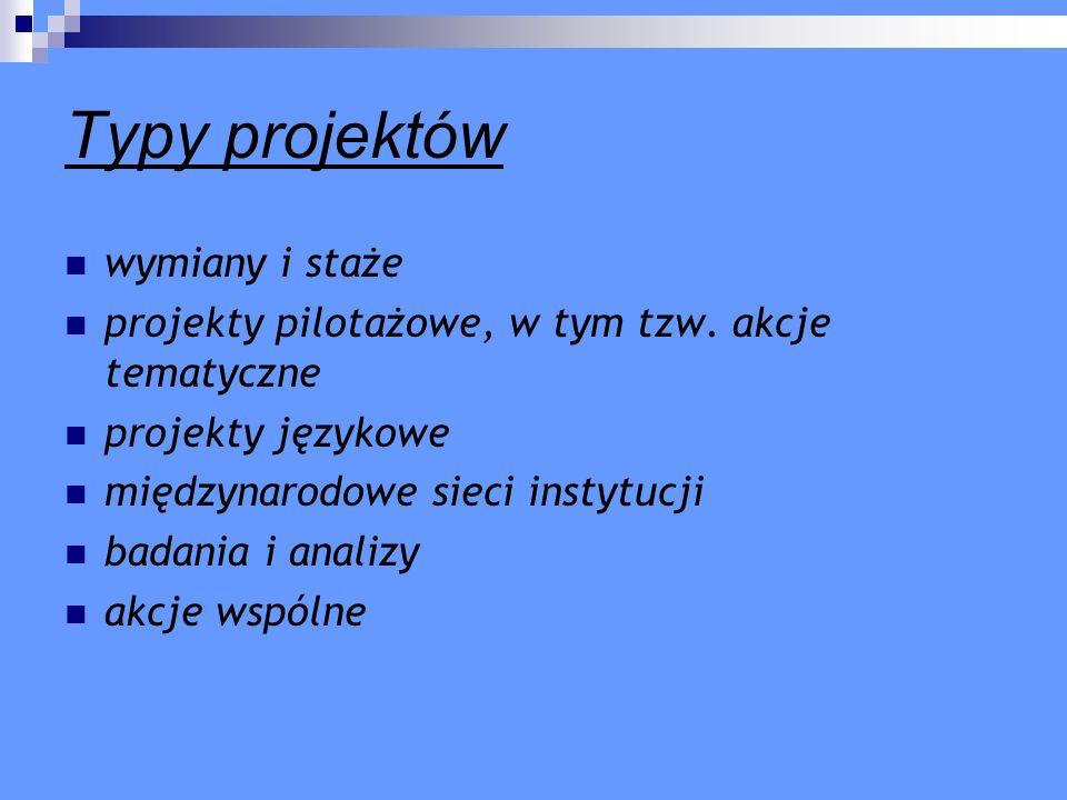 Typy projektów wymiany i staże projekty pilotażowe, w tym tzw. akcje tematyczne projekty językowe międzynarodowe sieci instytucji badania i analizy ak