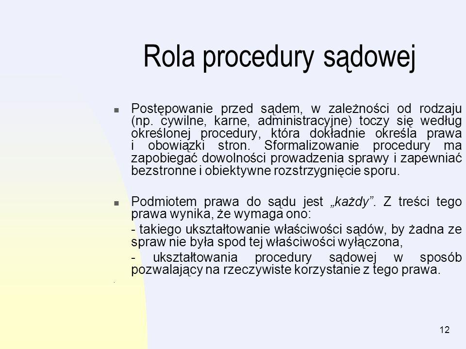 12 Rola procedury sądowej Postępowanie przed sądem, w zależności od rodzaju (np. cywilne, karne, administracyjne) toczy się według określonej procedur
