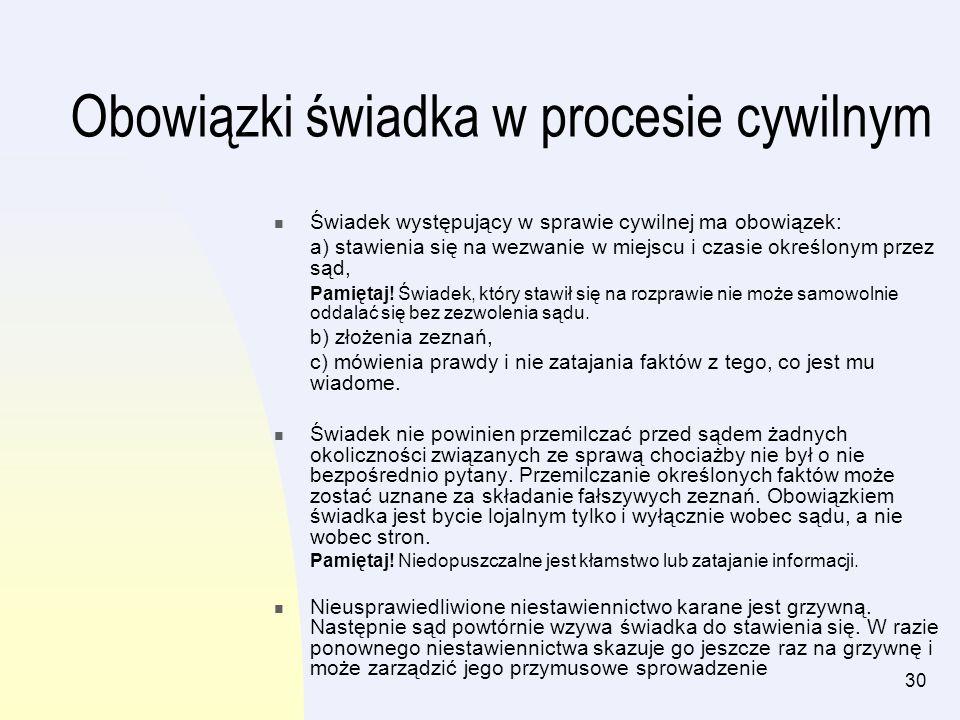 30 Obowiązki świadka w procesie cywilnym Świadek występujący w sprawie cywilnej ma obowiązek: a) stawienia się na wezwanie w miejscu i czasie określon