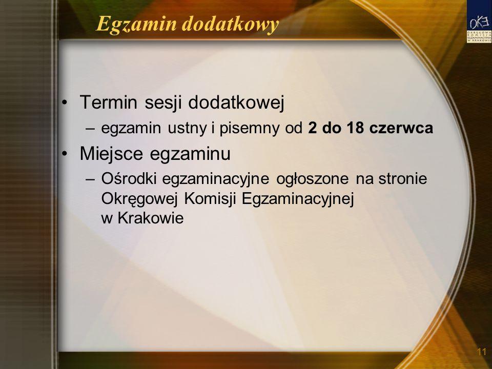 Egzamin dodatkowy Termin sesji dodatkowej –egzamin ustny i pisemny od 2 do 18 czerwca Miejsce egzaminu –Ośrodki egzaminacyjne ogłoszone na stronie Okręgowej Komisji Egzaminacyjnej w Krakowie 11