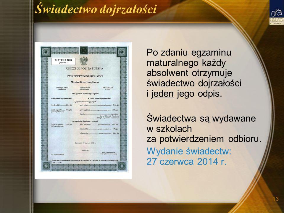13 Świadectwo dojrzałości Po zdaniu egzaminu maturalnego każdy absolwent otrzymuje świadectwo dojrzałości i jeden jego odpis.