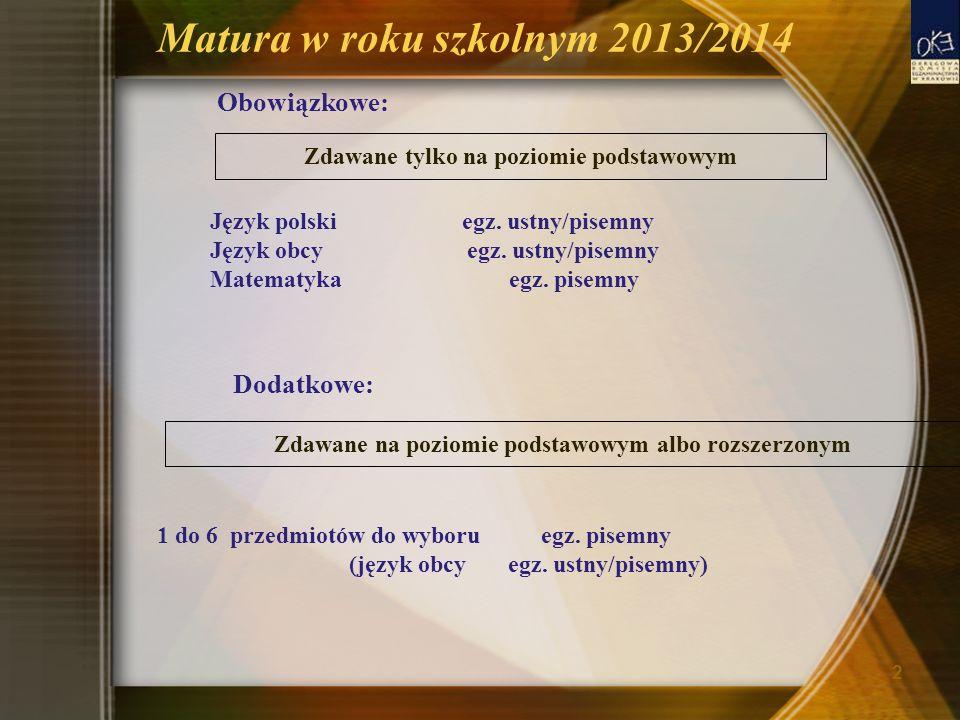 Matura w roku szkolnym 2013/2014 Obowiązkowe: Język polski egz.