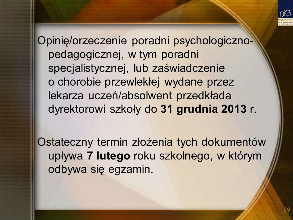 Opinię/orzeczenie poradni psychologiczno- pedagogicznej, w tym poradni specjalistycznej, lub zaświadczenie o chorobie przewlekłej wydane przez lekarza uczeń/absolwent przedkłada dyrektorowi szkoły do 31 grudnia 2013 r.