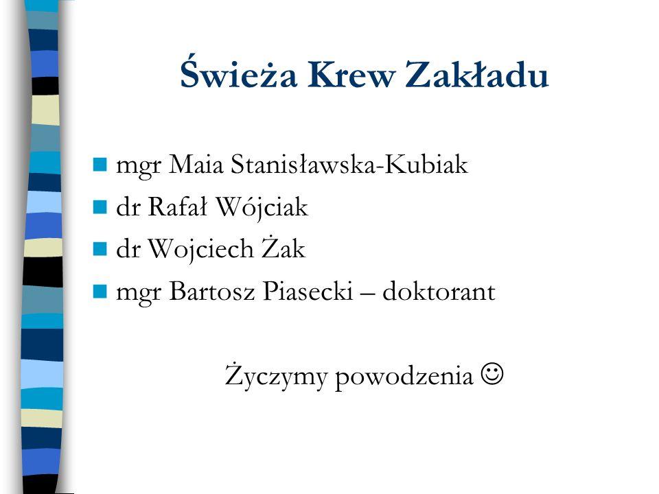 Świeża Krew Zakładu mgr Maia Stanisławska-Kubiak dr Rafał Wójciak dr Wojciech Żak mgr Bartosz Piasecki – doktorant Życzymy powodzenia