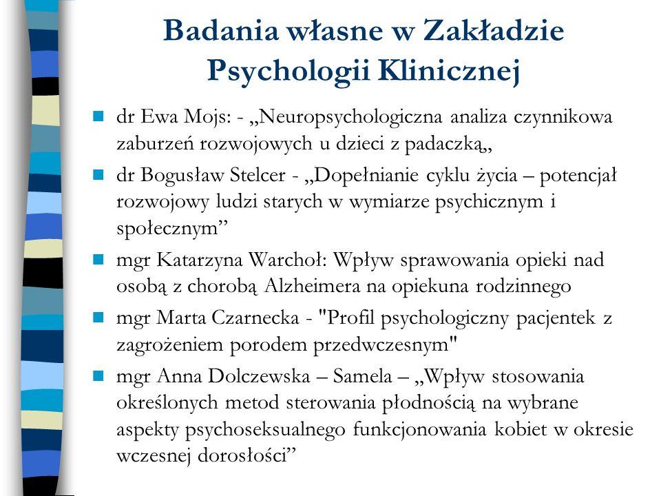 Badania własne w Zakładzie Psychologii Klinicznej dr Ewa Mojs: - Neuropsychologiczna analiza czynnikowa zaburzeń rozwojowych u dzieci z padaczką dr Bo