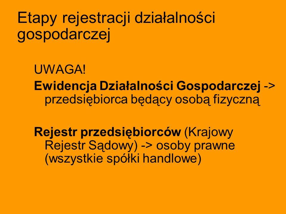 Etapy rejestracji działalności gospodarczej UWAGA! Ewidencja Działalności Gospodarczej -> przedsiębiorca będący osobą fizyczną Rejestr przedsiębiorców