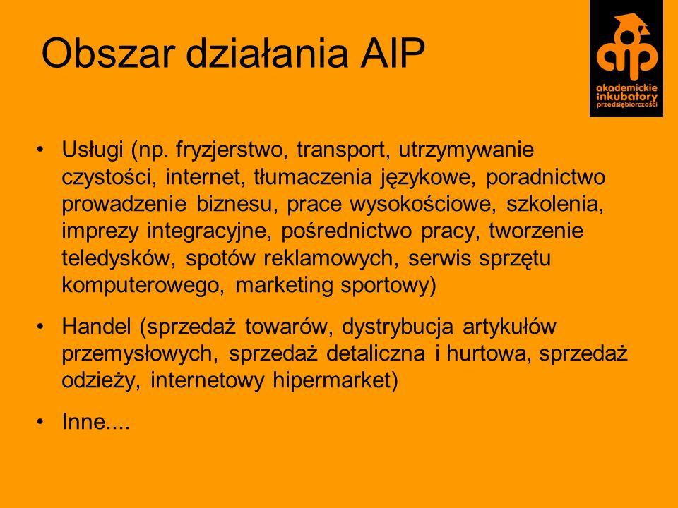 Obszar działania AIP Usługi (np. fryzjerstwo, transport, utrzymywanie czystości, internet, tłumaczenia językowe, poradnictwo prowadzenie biznesu, prac