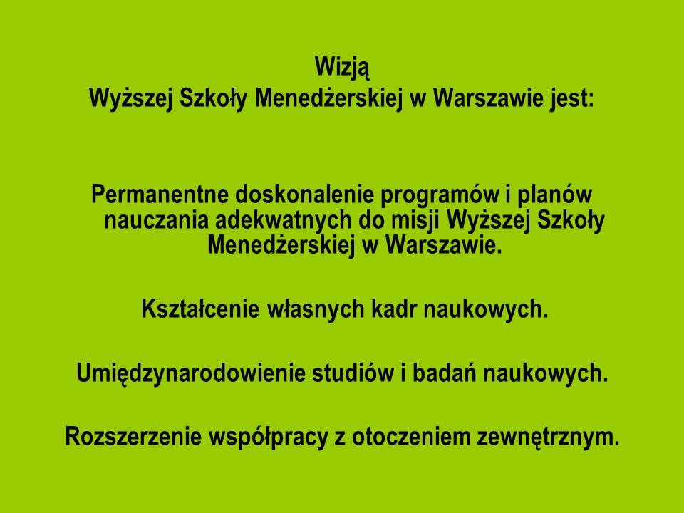 Wizją Wyższej Szkoły Menedżerskiej w Warszawie jest: Permanentne doskonalenie programów i planów nauczania adekwatnych do misji Wyższej Szkoły Menedże