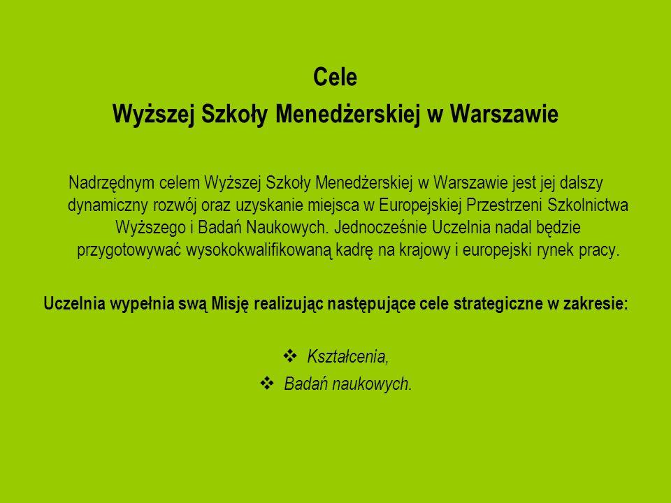 Cele Wyższej Szkoły Menedżerskiej w Warszawie Nadrzędnym celem Wyższej Szkoły Menedżerskiej w Warszawie jest jej dalszy dynamiczny rozwój oraz uzyskan