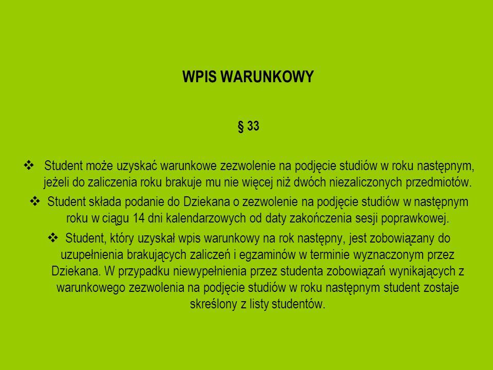 WPIS WARUNKOWY § 33 Student może uzyskać warunkowe zezwolenie na podjęcie studiów w roku następnym, jeżeli do zaliczenia roku brakuje mu nie więcej ni