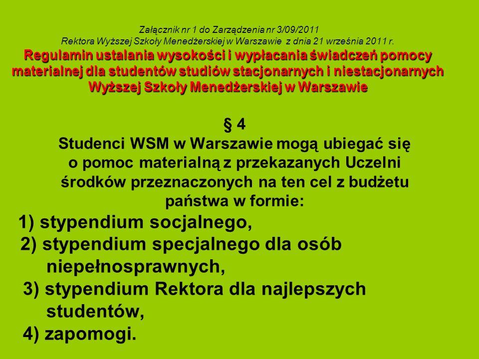 Regulamin ustalania wysokości i wypłacania świadczeń pomocy materialnej dla studentów studiów stacjonarnych i niestacjonarnych Wyższej Szkoły Menedżer