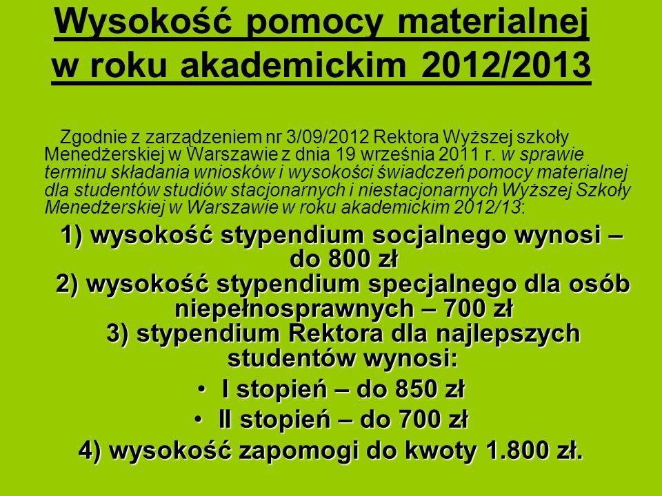Wysokość pomocy materialnej w roku akademickim 2012/2013 Zgodnie z zarządzeniem nr 3/09/2012 Rektora Wyższej szkoły Menedżerskiej w Warszawie z dnia 1
