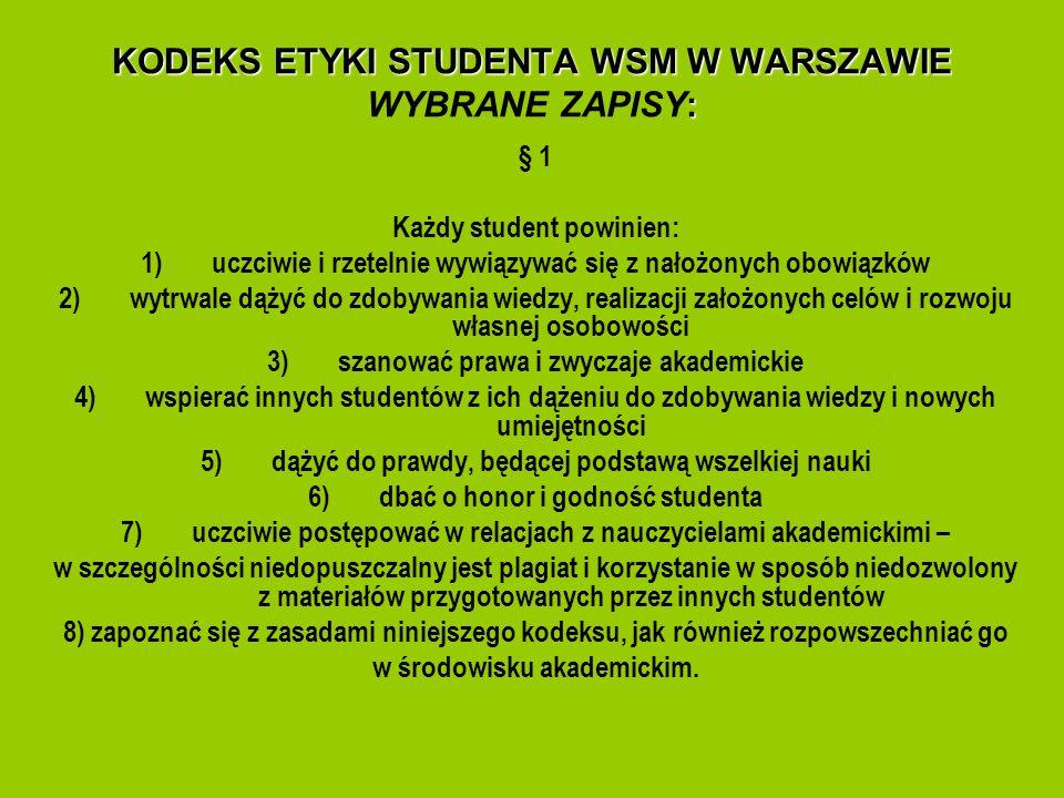 KODEKS ETYKI STUDENTA WSM W WARSZAWIE : KODEKS ETYKI STUDENTA WSM W WARSZAWIE WYBRANE ZAPISY: § 1 Każdy student powinien: 1)uczciwie i rzetelnie wywią