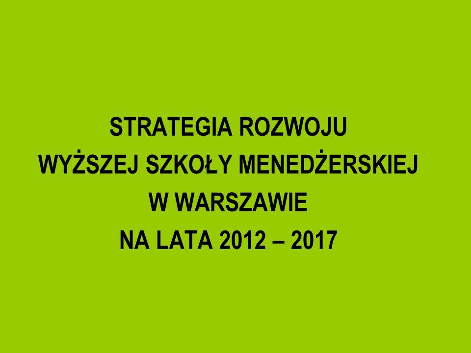 Uznając potrzebę planowania rozwoju Uczelni w perspektywie długookresowej Senat Wyższej Szkoły Menedżerskiej w Warszawie przyjął w dniu 30 marca 2012 roku uchwałę w sprawie Strategii rozwoju Wyższej Szkoły Menedżerskiej w Warszawie na lata 2012 – 2017.
