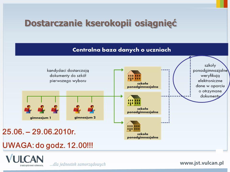 Dostarczanie kserokopii osiągnięć 25.06. – 29.06.2010r. UWAGA: do godz. 12.00!!!