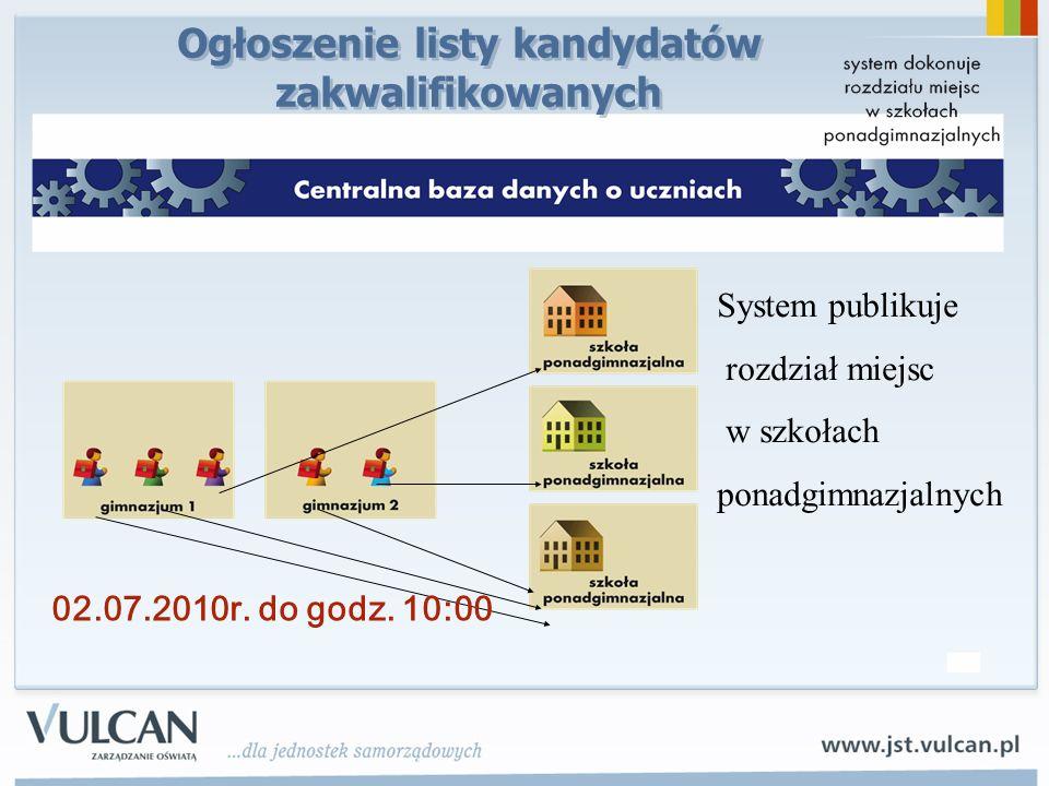 System publikuje rozdział miejsc w szkołach ponadgimnazjalnych 02.07.2010r. do godz. 10:00 Ogłoszenie listy kandydatów zakwalifikowanych