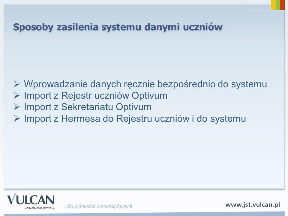 Sposoby zasilenia systemu danymi uczniów Wprowadzanie danych ręcznie bezpośrednio do systemu Import z Rejestr uczniów Optivum Import z Sekretariatu Op