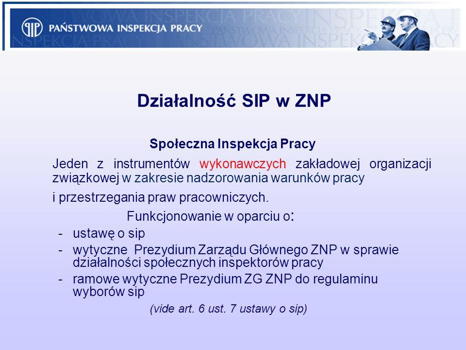 Działalność SIP w ZNP Społeczna Inspekcja Pracy Jeden z instrumentów wykonawczych zakładowej organizacji związkowej w zakresie nadzorowania warunków p