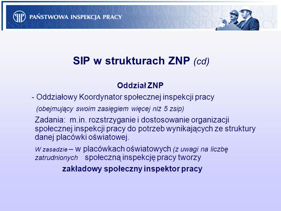 SIP w strukturach ZNP (cd) Oddział ZNP - Oddziałowy Koordynator społecznej inspekcji pracy (obejmujący swoim zasięgiem więcej niż 5 zsip) Zadania: m.i