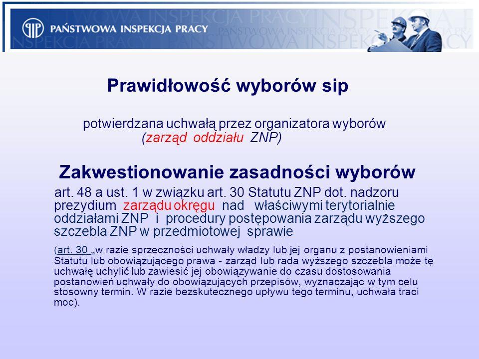 Prawidłowość wyborów sip potwierdzana uchwałą przez organizatora wyborów (zarząd oddziału ZNP) Zakwestionowanie zasadności wyborów art. 48 a ust. 1 w