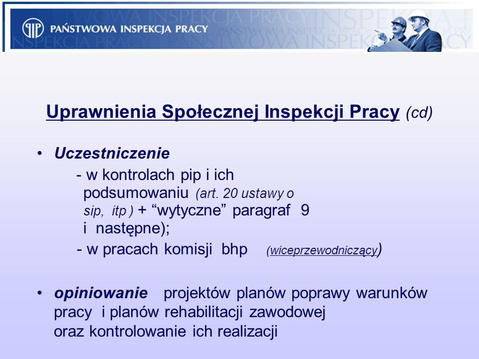 Uprawnienia Społecznej Inspekcji Pracy (cd) Uczestniczenie - w kontrolach pip i ich podsumowaniu (art. 20 ustawy o sip, itp ) + wytyczne paragraf 9 i