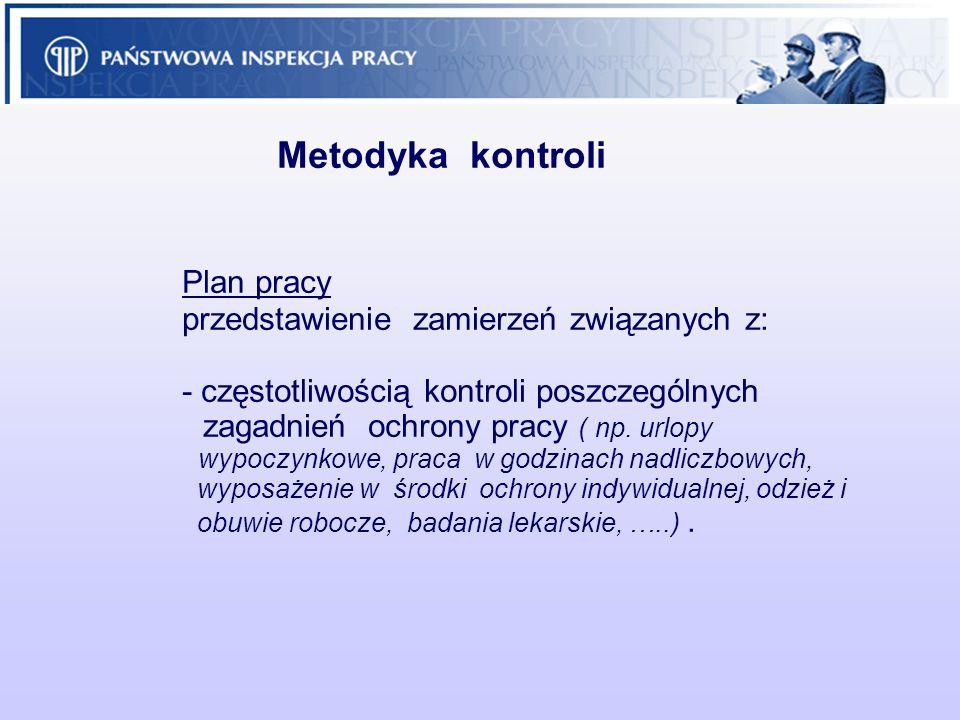 Metodyka kontroli Plan pracy przedstawienie zamierzeń związanych z: - częstotliwością kontroli poszczególnych zagadnień ochrony pracy ( np. urlopy wyp