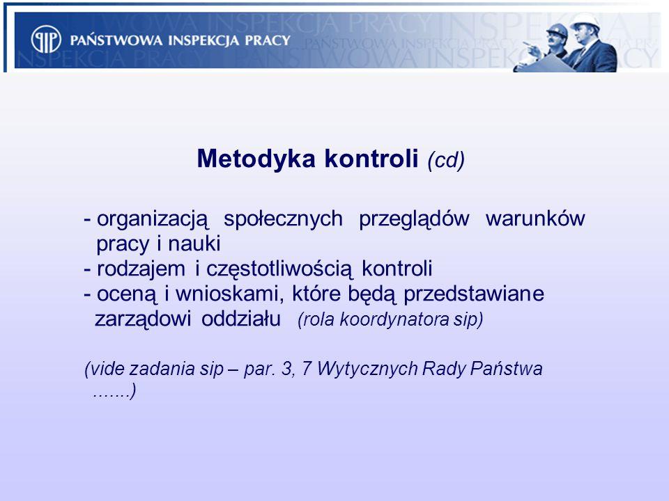 Metodyka kontroli (cd) - organizacją społecznych przeglądów warunków pracy i nauki - rodzajem i częstotliwością kontroli - oceną i wnioskami, które bę