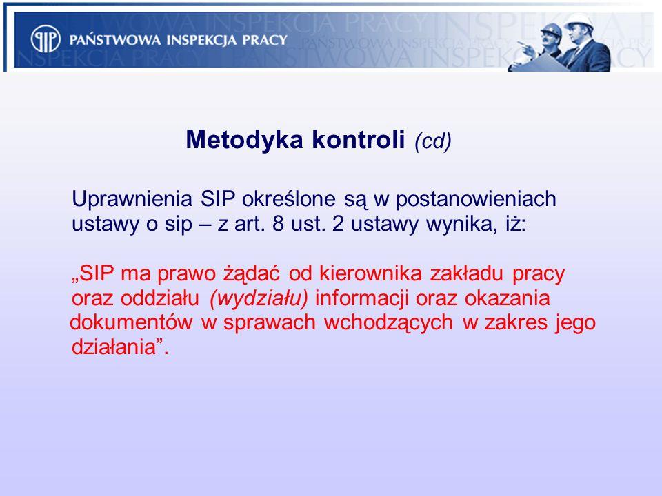 Metodyka kontroli (cd) Uprawnienia SIP określone są w postanowieniach ustawy o sip – z art. 8 ust. 2 ustawy wynika, iż: SIP ma prawo żądać od kierowni