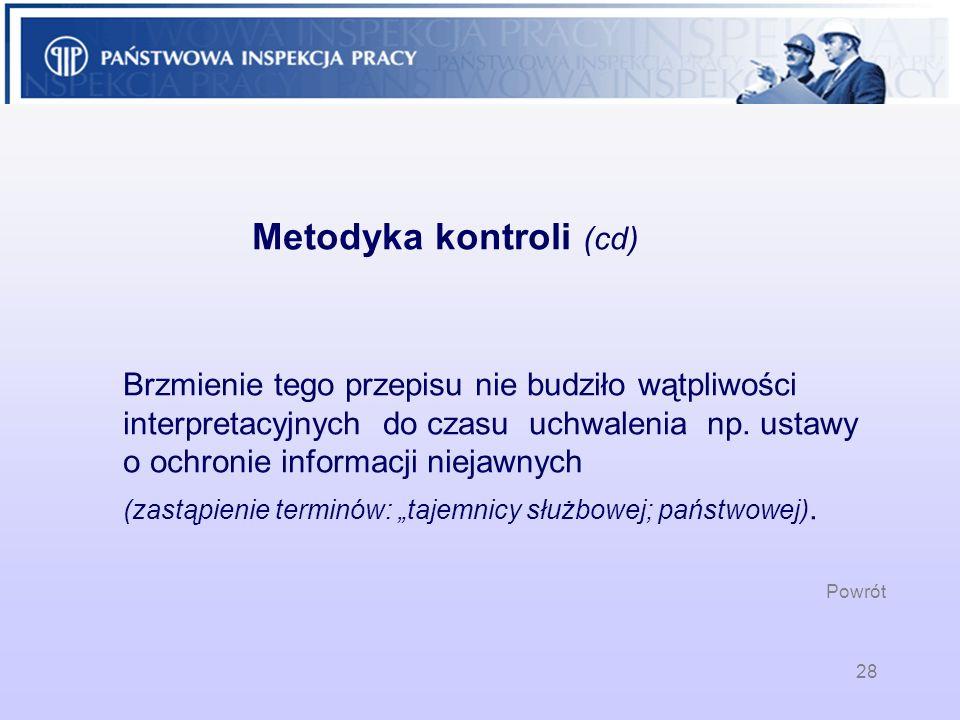 28 Metodyka kontroli (cd) Brzmienie tego przepisu nie budziło wątpliwości interpretacyjnych do czasu uchwalenia np. ustawy o ochronie informacji nieja