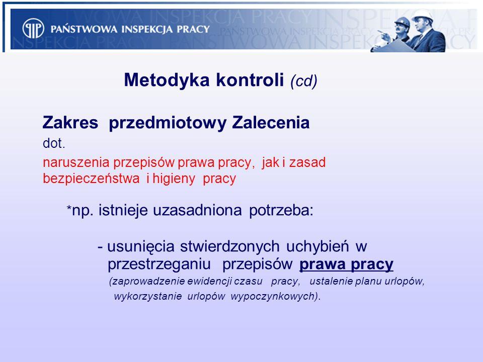 Metodyka kontroli (cd) Zakres przedmiotowy Zalecenia dot. naruszenia przepisów prawa pracy, jak i zasad bezpieczeństwa i higieny pracy * np. istnieje