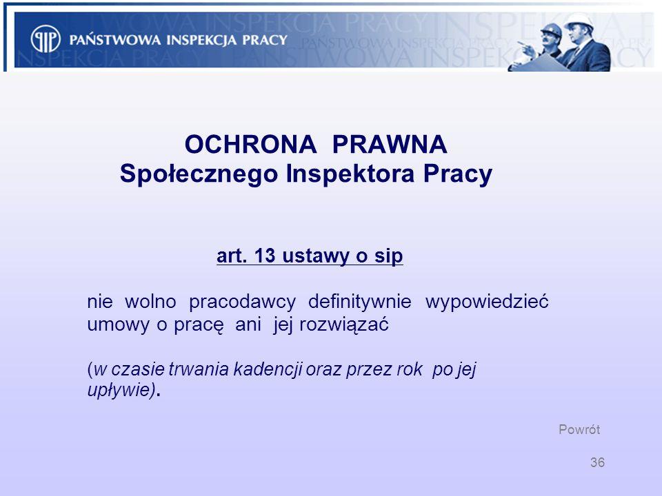 36 OCHRONA PRAWNA Społecznego Inspektora Pracy art. 13 ustawy o sip nie wolno pracodawcy definitywnie wypowiedzieć umowy o pracę ani jej rozwiązać (w